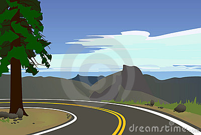 The road to the background of mountains