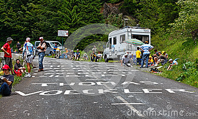 Road to Col d Aubisque Editorial Stock Image