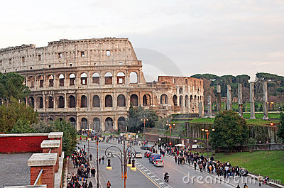 Road to Colosseum Editorial Stock Image