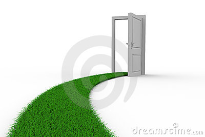 Road to door from grass. Isolated 3D
