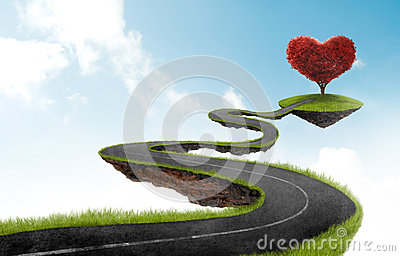 The road to Heart tree Stock Photo