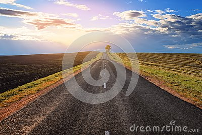 Road to the horizon with a tree and clouds Stock Photo