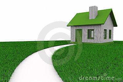 Road to house on grass. Isolated 3D Stock Photo
