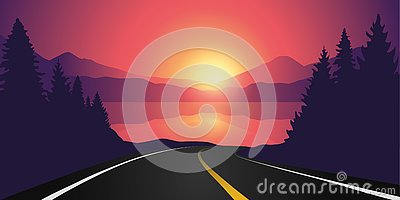 Road to the lake in the forest at sunrise with mountain landscape Vector Illustration