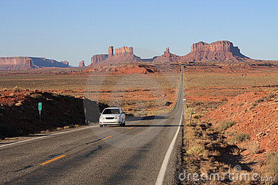 Road to Monument Valley with car