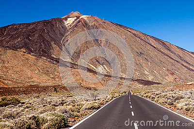 A road to mount Teide, Tenerife, Spain.