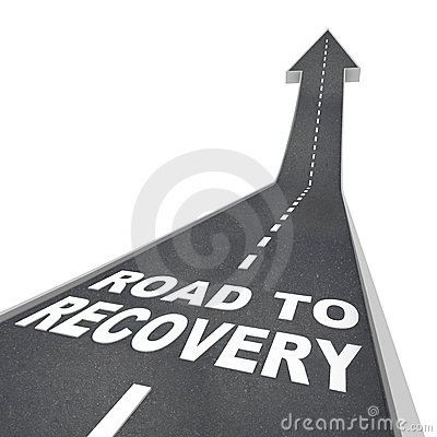 Free Road To Recovery Words On Pavement - Up Arrow Royalty Free Stock Images - 16721939