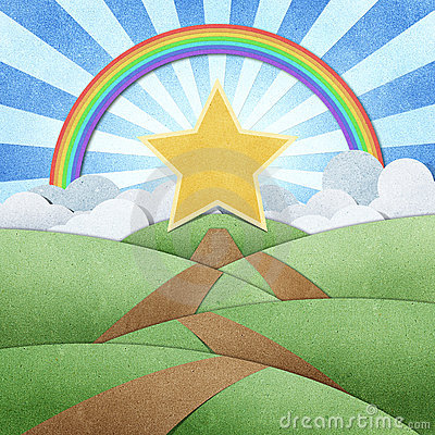 Road To Star Recycled Paper Craft And Rainbow Stock Images - Image: 20713394