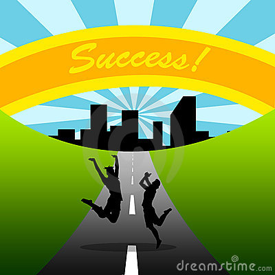 Road to success, couple, teamwork