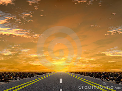 Road to a sunset