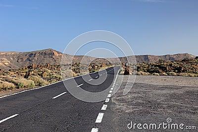Road to volcano El Teide.