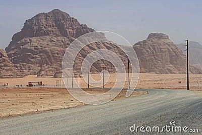 Road to the Wadi Rum desert