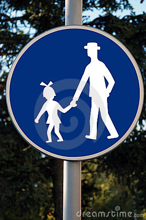 Road traffic children beware sign in white against blue