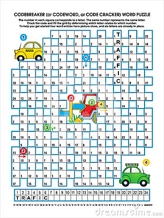 Road traffic codebreaker word puzzle