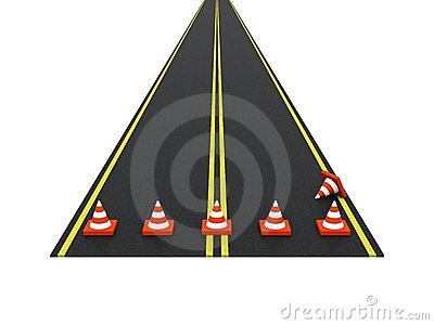 Road with traffic cones