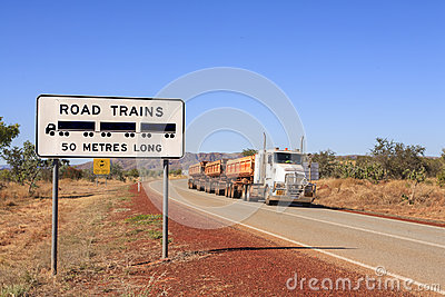 Road Train Warning Sign and Roadtrain