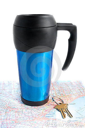 Road travel and coffe mug
