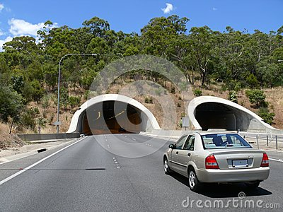 Road with tunnel.
