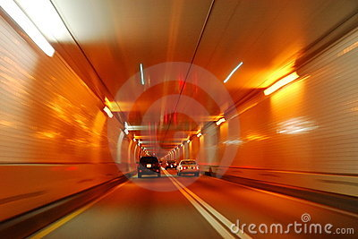 Road tunnel motion blur