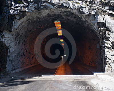 Road tunnel under mountain
