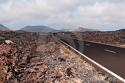 Road in volcanic scenery.