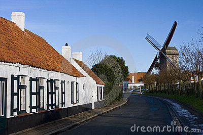 Road and a windmill, Belgium