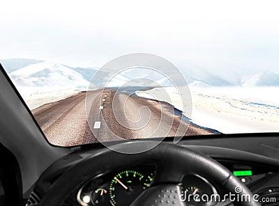 Road in winter mountain landscape