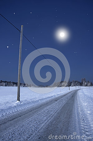 Road in winter night