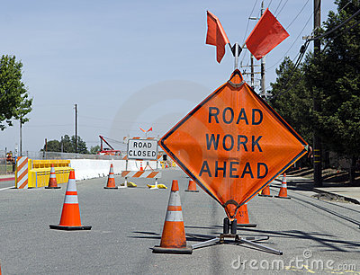 Road Work Ahead Editorial Photo