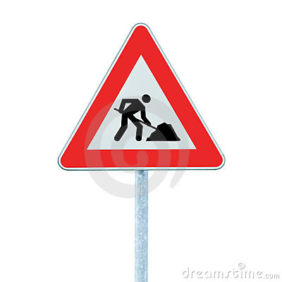 Road Works Ahead Warning Road Sign Pole isolated