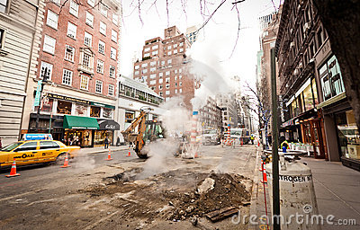 Road works on Madison Avenue Editorial Image