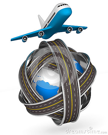 Roads round globe and airplane on white background