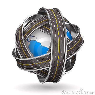 Roads round globe on white background