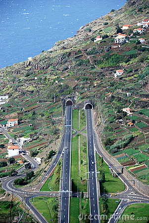 Roads and tunnels on Madeira Island