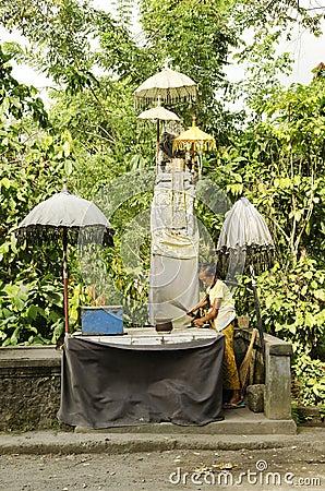 Roadside shrine in bali indonesia Editorial Stock Photo