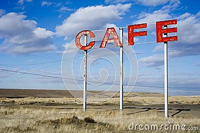 Roadside cafe sign
