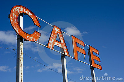 Roadside cafe sign
