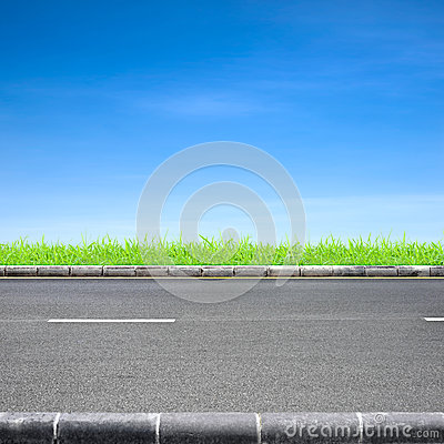 Roadside grass and blue sky
