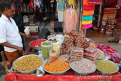 Roadside Indian snacks stall Editorial Photography