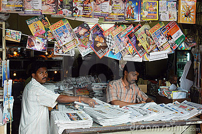 Roadside magazine stall of Goa. Editorial Image