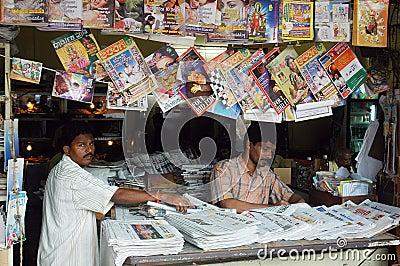Roadside magazine stall of Goa. Editorial Image