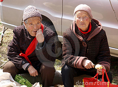 The roadside rest old lady Editorial Stock Photo