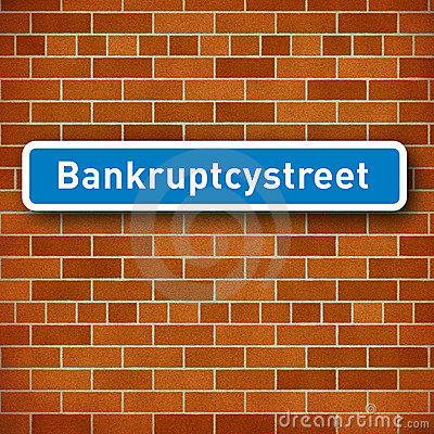 Roadsign with the name Bankruptcy street