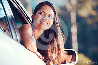 Roadtrip woman happy