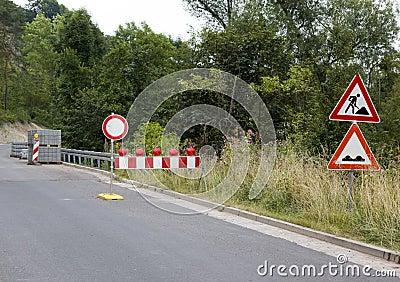 Roadworks roadsigns
