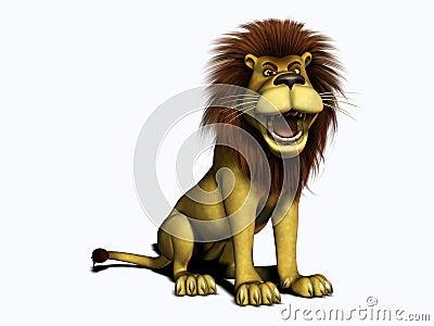 Roaring cartoon lion.