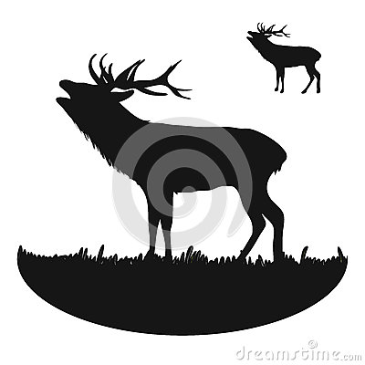 Roaring Deer Silhouette Vector Illustration
