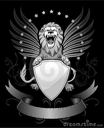 Roaring Winged Lion with Shield