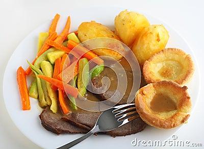 Roast beef dinner high angle view
