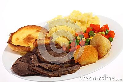 Roast beef meal angled